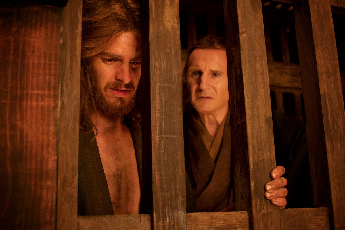(L-R) Andrew Garfield as Father Sebastião Rodrigues and Liam Neeson as Father Ferreira in the film SILENCE by Paramount Pictures, SharpSword Films, and AI Films
